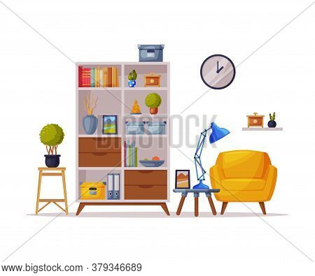 Cozy Room Interior Design With Comfy Furniture And Home Decoration Accessories In Trendy Style Vecto