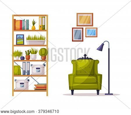 Modern Cozy Room Interior Design, Bookcase, Comfortable Green Armchair, Comfy Furniture And Home Dec