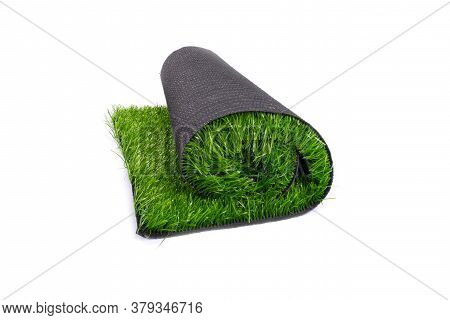 Roll Of Artificial Green Grass, Carpet, Artificial Turf Isolated On White Background.