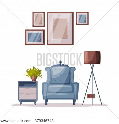 Modern Cozy Room Interior Design With Comfy Furniture And Home Decoration Accessories Vector Illustr
