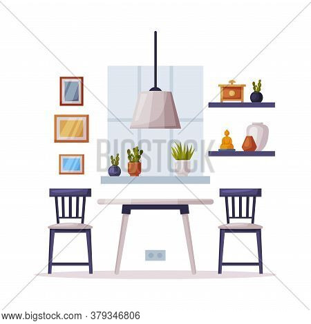 Modern Cozy Kitchenroom Interior Design, Chairs And Coffee Table Comfy Furniture And Home Decoration
