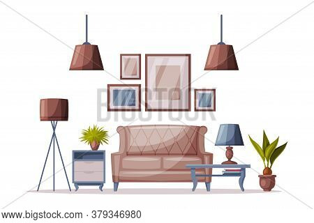 Cozy Room, Comfy Furniture And Home Decoration Accessories Vector Illustration On White Background