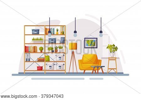Cosy Modern Room Interior Design, Apartments With Comfy Furniture And Home Decor In Trendy Scandinav