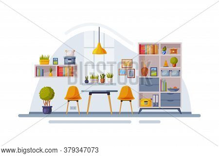Modern Room Interior Design, Cozy Apartments With Comfy Furniture And Home Decor With Bookcase, Tabl