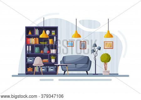 Modern Room Interior Design, Cozy Apartments With Comfy Furniture And Home Decor, Bookcase, Sofa And