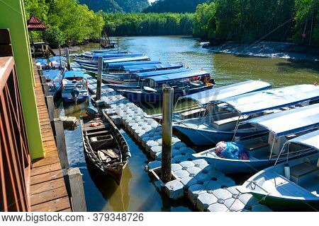 Asian Boat Station For Small Tourist Boats. Boat Excursions On The River. Langkawi, Malaysia - 06.24