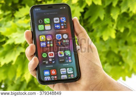 Frankfurt, Germany - 02nd August 2020: A German Developer Testing The New Beta Version Of Ios 14 On