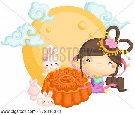 A Vector Of The Chinese Goddess With Mooncake Under The Moonlight