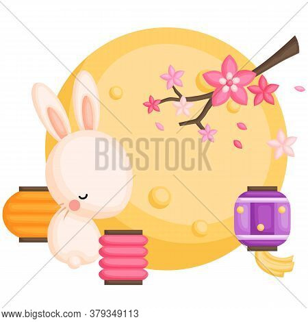 A Vector Of Cute Rabbit Sits Near Lanterns Under The Moonlight