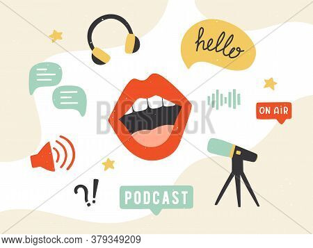 Podcast Banner. Collection Of Podcasting Symbols: Microphone, Headphones, Loudspeaker, Speech Bubble