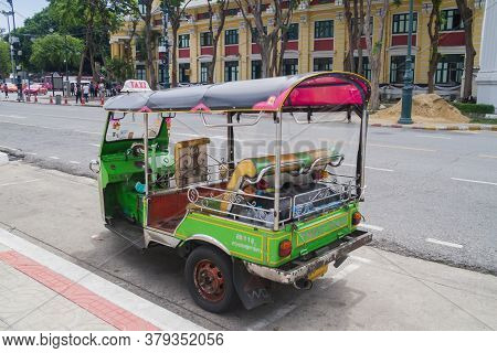 Bangkok, Thailand June 24 2017: A Tuk-tuk Parked On The Street In Bangkok. This Is A Popular Means O