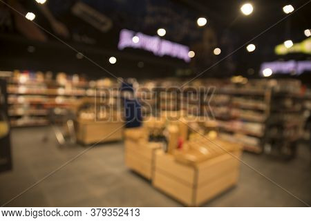 Empty Wood Table Top On Blurred Market Fruit. Can Montage Or Display Your Products