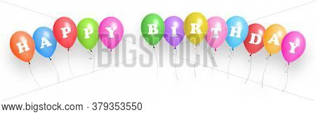 Happy Birthday. Color balloons background with place for text.