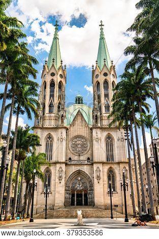 The Sao Paulo See Metropolitan Cathedral In Sao Paulo, Brazil