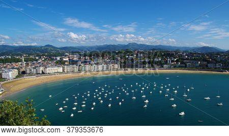 Ocean near the bay of La Concha and the island of Santa Clara . San Sebastian. Basque Country. Spain.