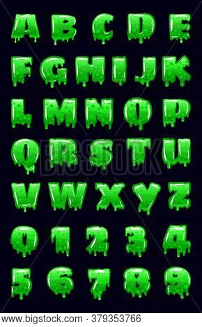 Slime Font Green Bubbling Toxic Mold. Letters Numbers. Vector Cartoon Style Illustration
