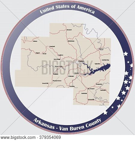 Round Button With Detailed Map Of Van Buren County In Arkansas, Usa.