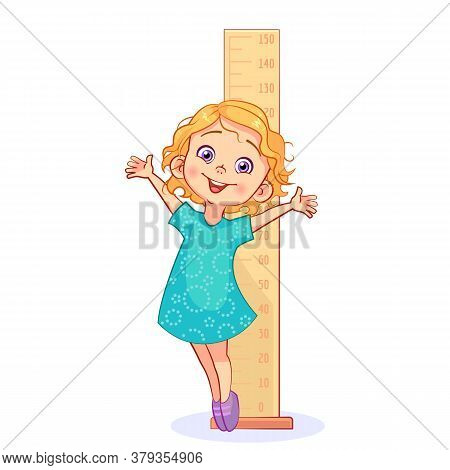 Cartoon Sweet Girl Measures Her Growth With A Big Ruler And Stands On The Tiptoe. Cutout Kids Vector