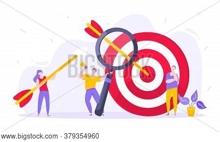Goal Achievement Business Concept Sport Target Icon And Arrows In The Bullseye. Tiny Persons With Me