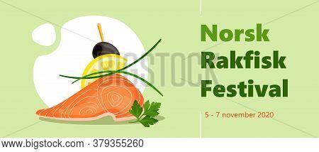Rakfisk Festival Colorful Horizontal Vector Banner Template With Tasty Salmon, Lemon, Parsley, Leek