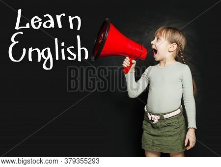 Child Learning English Language And Screaming Through A Megaphone Learn English!