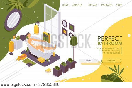 Landing Page Isometric Girl In The Bathtub Relaxing And Smiling. 3d Interior Scene With Burning Cand