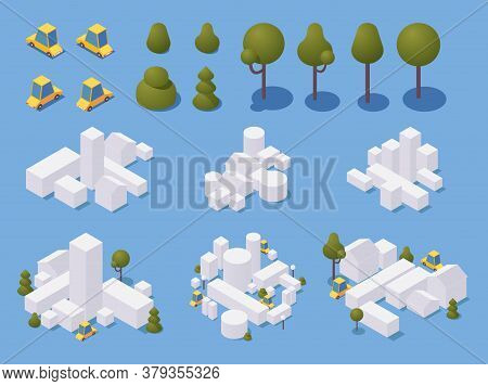 City Minimalist Creation Set With Trees And Cars. White Buildings In Simple Style With Shadows. 3d I