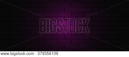 Empty Brick Wall With Pink Neon Light With Copy Space. Lighting Effect Pink Color Glow On Brick Wall