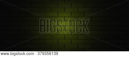 Empty Brick Wall With Yellow Neon Light With Copy Space. Lighting Effect Yellow Color Glow On Brick