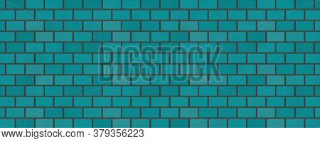 Empty Brick Wall Blue Color With Copy Space. Beautiful Brick Wall Blue Color On Blank Background. Ro