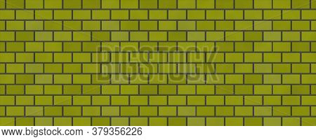 Empty Brick Wall Yellow Color With Copy Space. Beautiful Brick Wall Yellow Color On Blank Background
