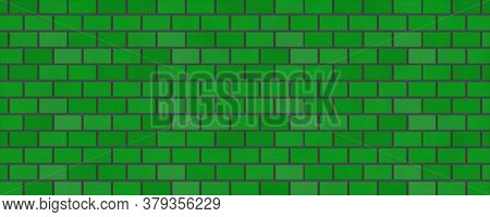 Empty Brick Wall Green Color With Copy Space. Beautiful Brick Wall Green Color On Blank Background.