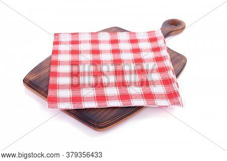 cutting wooden board  and napkin table cloth, isolated on white background