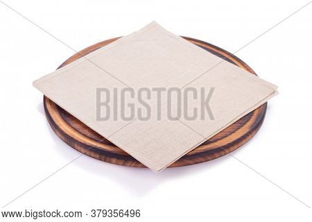 pizza cutting wooden board  and napkin table cloth, isolated on white background
