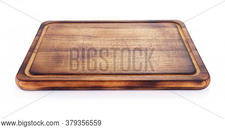 cutting wooden board or tray isolated on white background