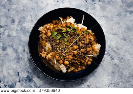 Healthy Plant-based Food Recipes Concept, Vegan Rice And Beans With Mexican Spices And Cilantro Topp