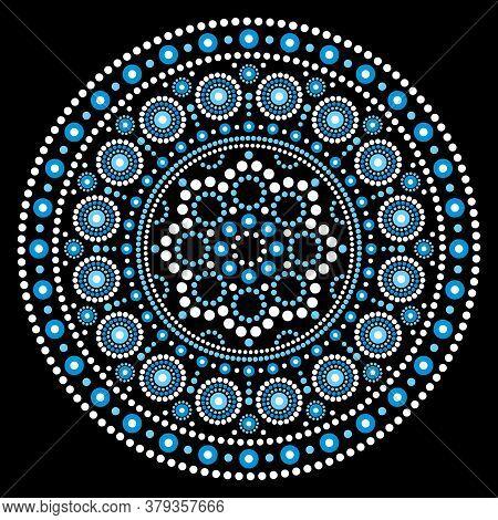 Mandala Aboriginal Dot Painting Ethnic Vector Mandala Design, Bho Australian Dot Art Pattern In Whit