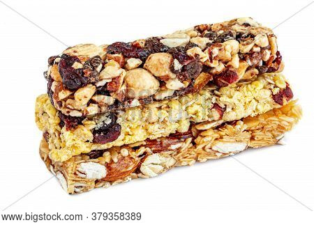 Superfood Breakfast Bars    Isolated On White Background. Cereal Energy Muesli Nut Bar Top View