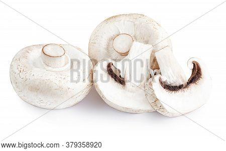 Fresh Champignon Mushrooms, Isolated On White Background. Edible Mushrooms Close Up