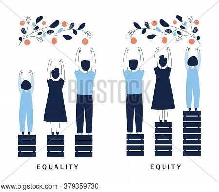 Equality And Equity Concept Illustration. Human Rights, Equal Opportunities And Respective Needs. Mo
