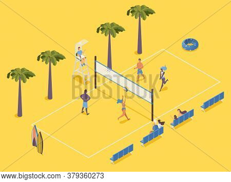 Isometric Beach Volleyball With Players, Judge And Spectators On Chairs On Yellow Background.