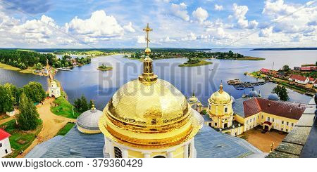 Nilo-Stolobensky Monastery and the Seliger lake from height, Tver region, Russia. Birds eye view of Tver Russia landmarks
