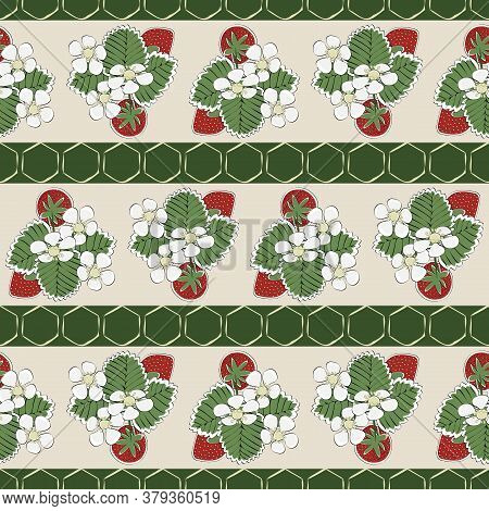 Vector Red Strawberries With Green Leaves And White Blooms On Beige Green Striped Background Seamles