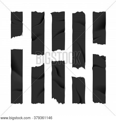 Realistic 3d Detailed Black Adhesive Or Masking Tape Set Torn Pieces For Fixing Notes. Vector Illust