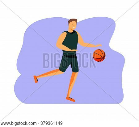 The Basketball Player Jumped To Throw In A Basketball Basket. Stock Vector Flat Illustration With A