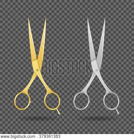 Realistic 3d Detailed Glossy Hairdresser Scissors Metal And Golden Set Sharp Equipment For Professio