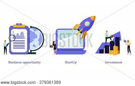 Entrepreneurship Abstract Concept Vector Illustration Set. Business Opportunity, Startup, Investment