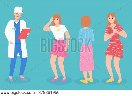 Consultation With Doctor, Physician Or Therapist With Clipboard, Anamnesis Of Patient, Woman With He