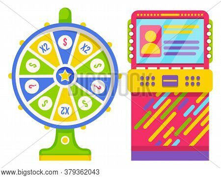 Wheel Of Fortune With Green And Blue Sectors And Numbers. Colorful Slot Machine Isolated On White Ba