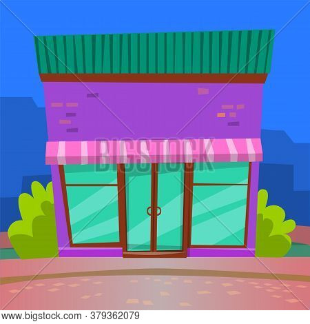 Geometric Construction With Big Glass, Restaurant In Purple Color With Panoramic Windows. Urban Dini